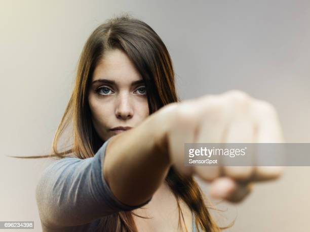 real woman ready for fight - punching stock pictures, royalty-free photos & images
