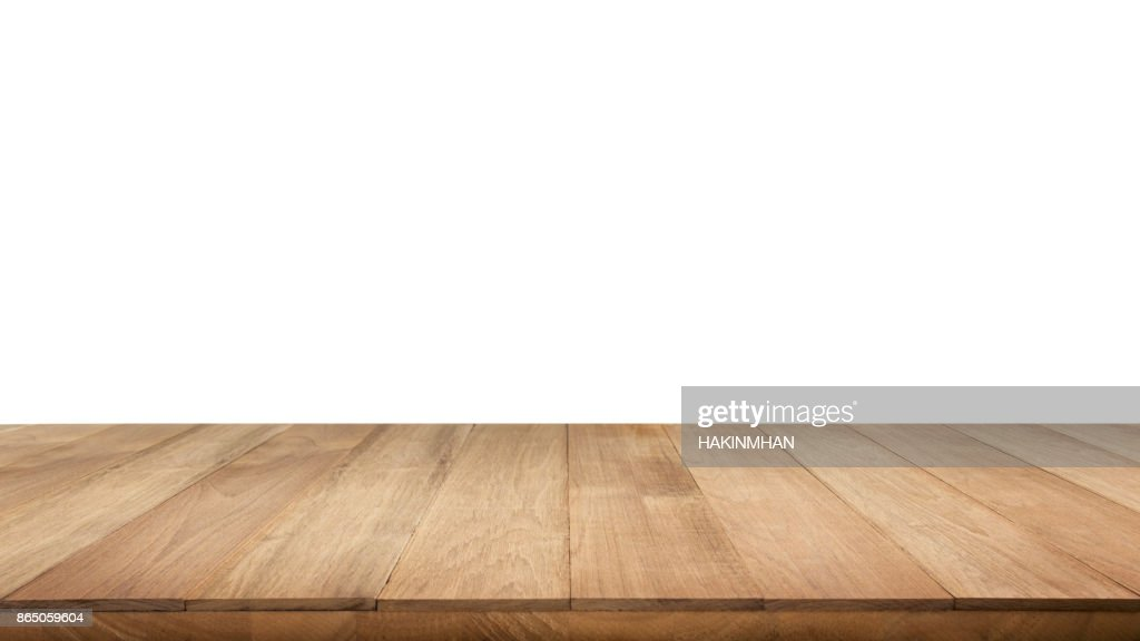 Real Wood Table Top Texture On White Background. : Stock Photo