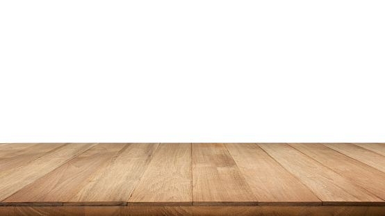 Real wood table top texture on white background. 865059604