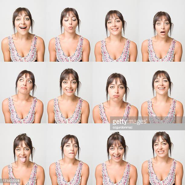 real young woman making facial expressions - multiple image stock pictures, royalty-free photos & images