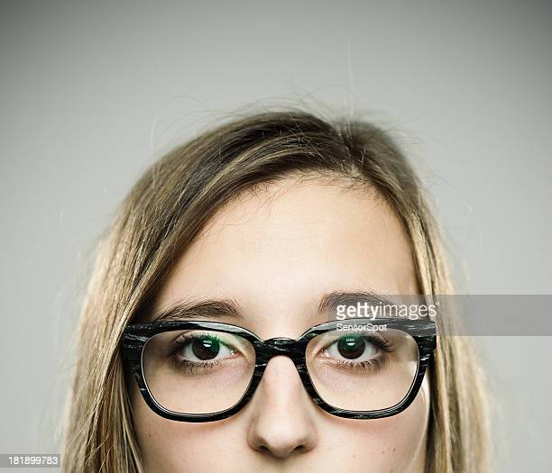 real young woman - thick rimmed spectacles stock photos and pictures