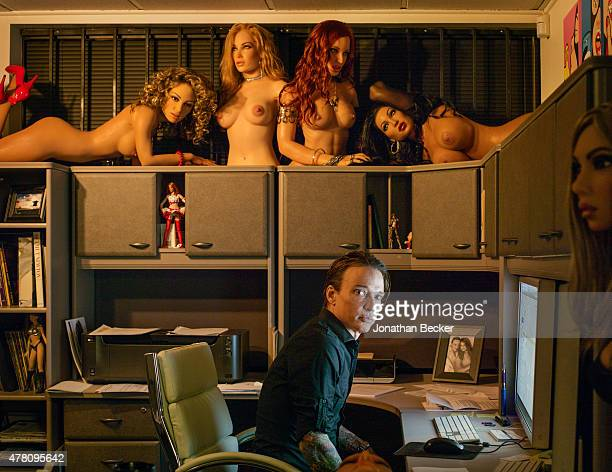 RealDoll creator Matt McMullen is photographed for Vanity Fair Magazine on February 19 2015 in his office at Abyss Creations' Factory in San Diego...