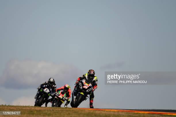 Reale Avintia Racing´s French rider Johann Zarco rides ahead of Monster Energy Yamaha' Spanish rider Maverick Vinales and Aprilia Racing Team's...