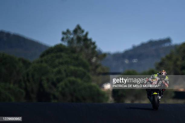 Reale Avintia Racing's French rider Johann Zarco takes part in the first practice session of the MotoGP Portuguese Grand Prix at the Algarve...