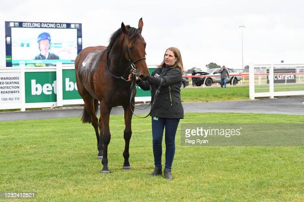 Realeza after winning the McGrath Estate Agents BM64 Handicap, at Geelong Racecourse on April 20, 2021 in Geelong, Australia.