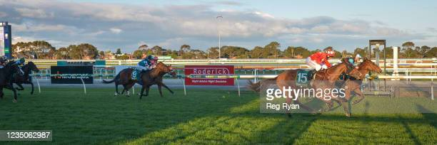 Realeza ridden by Beau Mertens wins the JT Dixon BM64 Handicap at Geelong Racecourse on September 05, 2021 in Geelong, Australia.