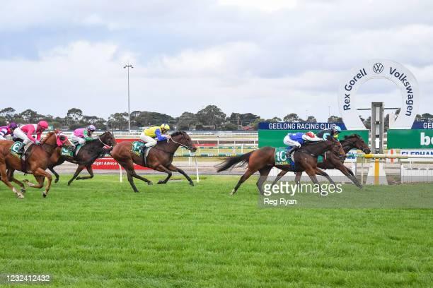 Realeza ridden by Joe Bowditch wins the McGrath Estate Agents BM64 Handicap at Geelong Racecourse on April 20, 2021 in Geelong, Australia.