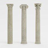 Realistic 3d Render of Columns (Doric, Ionic and Corinthian)