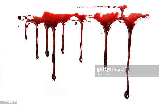 realistic blood dripping on white background - drop stock photos and pictures