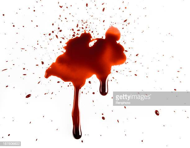 realistic blood splat on white background - bloody gore stock pictures, royalty-free photos & images