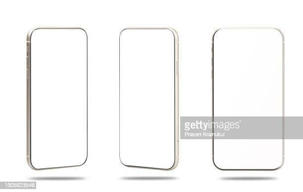 realistic modern smartphone isolated on white background. mock up - imitation stock pictures, royalty-free photos & images