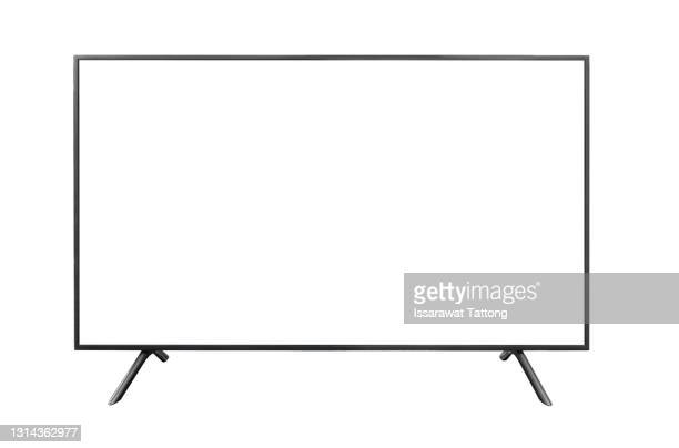 realistic tv screen. modern stylish lcd panel, led type. large computer monitor display mockup. blank television template. - television stock pictures, royalty-free photos & images