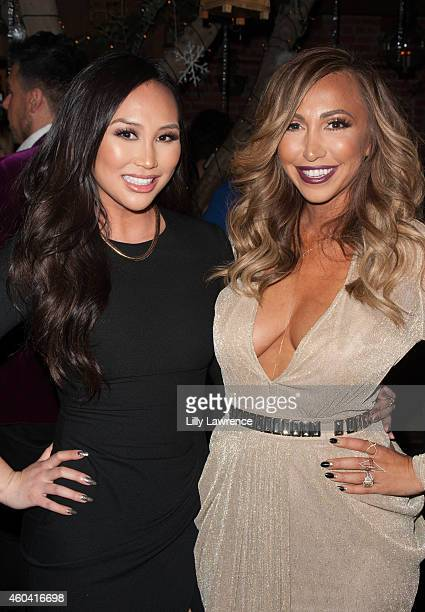 Reality actor Dorothy Wang and host and Executive producer of Hollyscoop Diana Madison attend Shandy Media Holiday Party on December 12 2014 in...