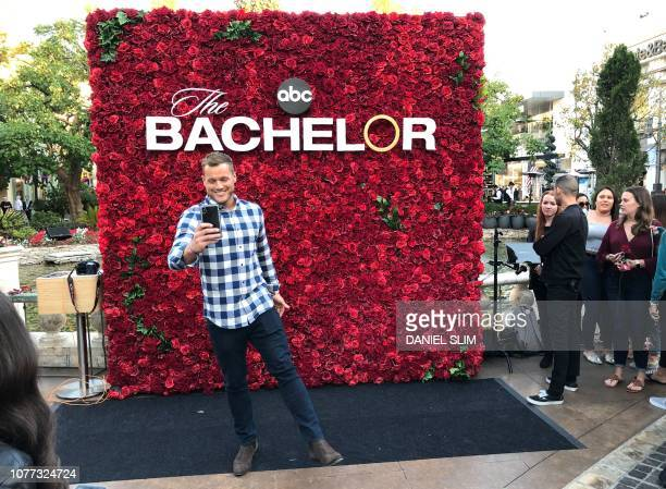 US TV reality celebrity Colton Underwood promotes the new season of The Bachelor at the Grove shopping center in Los Angeles on January 4 2019