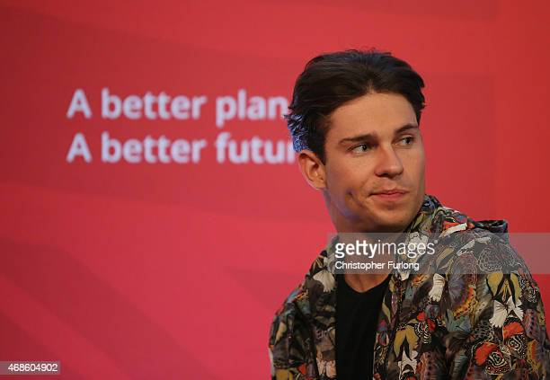 Reality television star Joey Essex attends a Labour party rally at Parr Hall on April 4 2015 in Warrington England Ed Miliband announced a Labour...