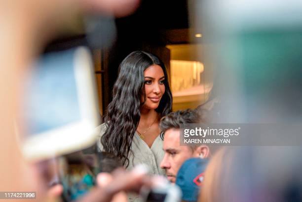 Reality television star Kim Kardashian leaves a hotel in Yerevan on October 7, 2019. - The US reality television star Kim Kardashian on October 7,...