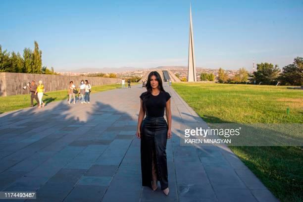 Reality television star Kim Kardashian visits the Tsitsernakaberd Armenian Genocide Memorial in Yerevan on October 8, 2019.