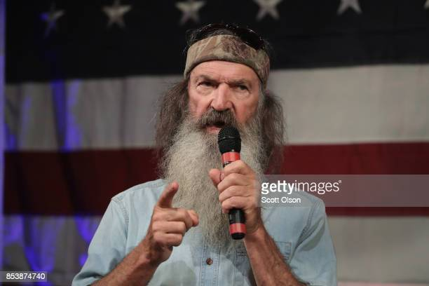 Reality television star Phil Robertson speaks at a campaign event for Republican candidate for the US Senate in Alabama Roy Moore on September 25...