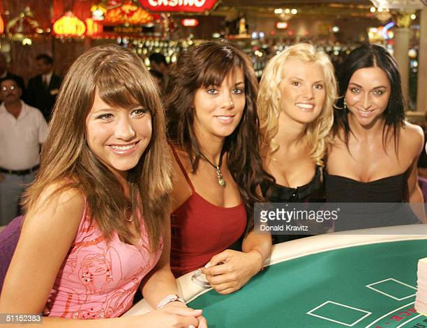 Reality television stars Paige Jones Jenna Morasca Heidi Strobel and Catherine Chiarelli sit at the blackjack table before their game during the The...