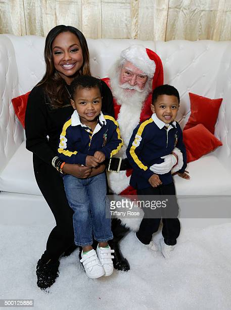 Reality TV actress Phaedra Parks Ayden Nida and Dylan Nida attend at 2015 Santa's Secret Workshop Benefiting LA Family Housing at Andaz Hotel on...