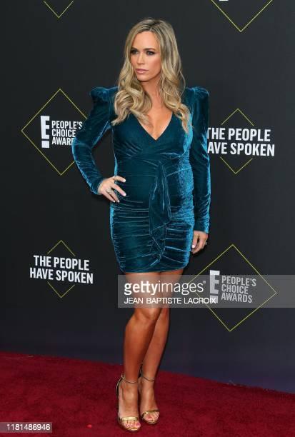 US reality TV actress Teddi Jo Mellencamp arrives for the 45th annual E People's Choice Awards at Barker Hangar in Santa Monica California on...