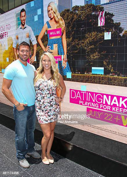 Reality TV Personalities Chris Aldrich and Kerri Cipriani attend VH1's 'Dating Naked' Season 2 billboard unveiling on July 17 2015 in Hollywood...