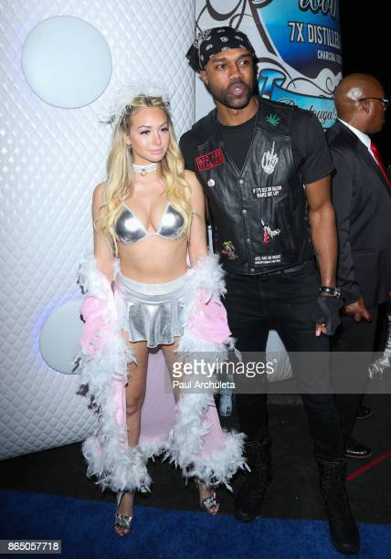 Reality TV Personalities Corinne Olympios and DeMario Jackson attend the 2017 Maxim Halloween party at Los Angeles Center Studios on October 21 2017...