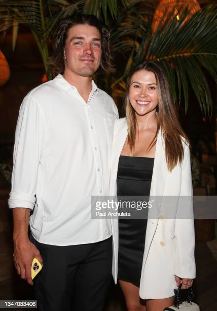 Reality TV Personalities Dean Unglert and Caelynn Miller-Keyes attend the Belles Beach House opening at Belles Beach House on October 16, 2021 in...
