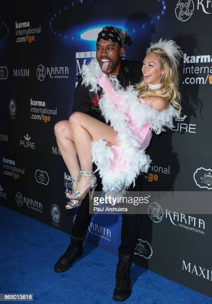 Reality TV Personalities DeMario Jackson and Corinne Olympios attend the 2017 Maxim Halloween party at Los Angeles Center Studios on October 21 2017...