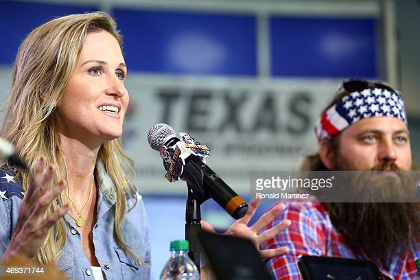 Reality TV personalities Korie Robertson and Willie Robertson speak with the media at a press conference prior to the NASCAR Sprint Cup Series Duck...