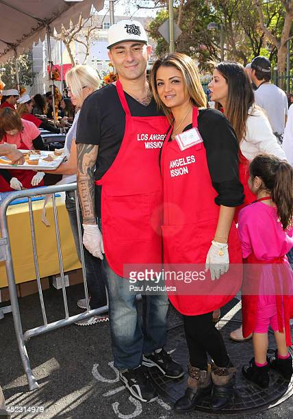 Reality TV Personality Golnesa 'GG' Gharachedaghi and her Boyfriend Dennis DeSantis attend the LA Mission's annual Thanksgiving for the homeless at...