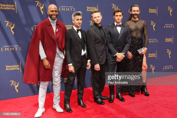 Reality TV Personality Karamo Brown Tan France Bobby Berk Antoni Porowski and Jonathan Van Ness attend the 2018 Creative Arts Emmy Awards Day 2 at...