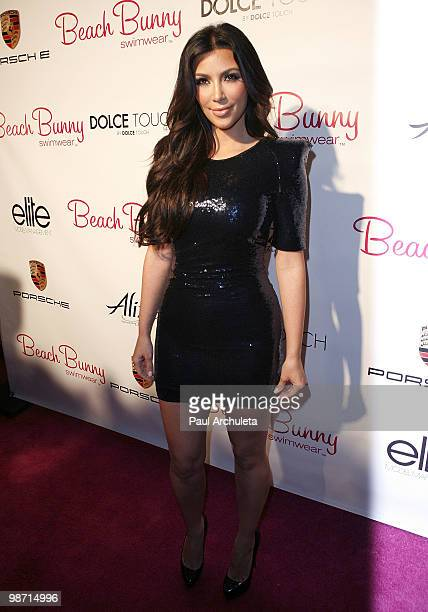 Reality TV personality Kim Kardashian arrives at the Beach Bunny Swimwear grand opening party at Beach Bunny Swimwear Boutique on April 27, 2010 in...