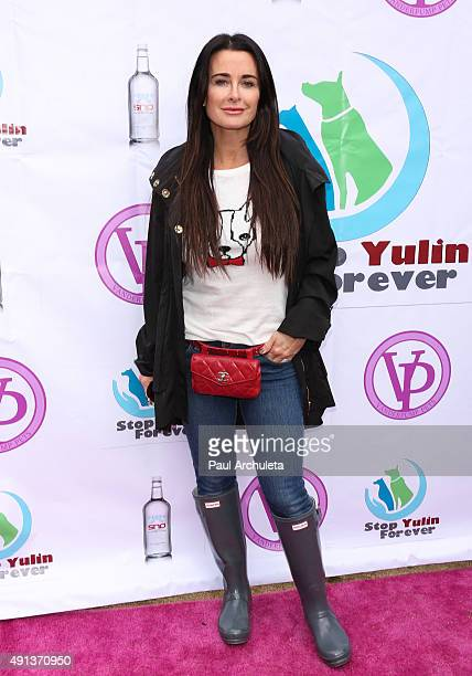 Reality TV Personality Kyle Richards attends the stop YulinForever march to end dog cruelty In Yulin China at MaCarthur Park Recreation Center on...
