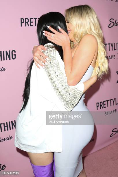 Reality TV Personality Kylie Jenner and Social Media Personality Anastasia Karanikolaou attend the PrettyLittleThing campaign launch on April 11 2017...