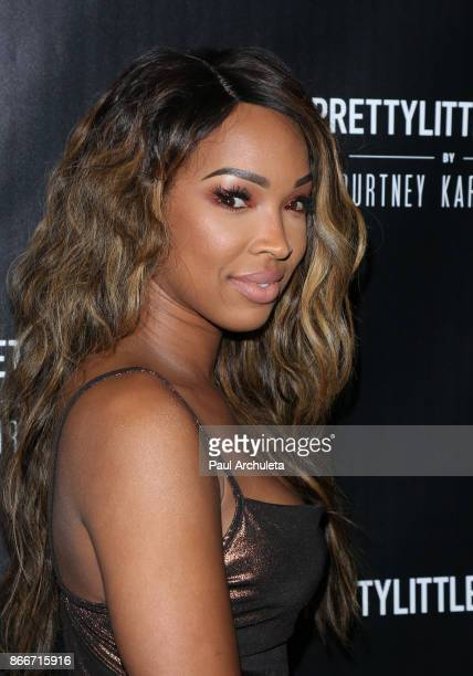 Reality TV Personality Malika Haqq attends the PrettyLittleThing by Kourtney Kardashian launch party on October 25 2017 in Los Angeles California
