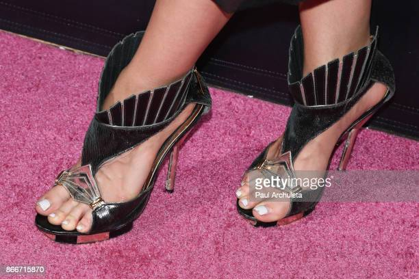 Reality TV Personality Malika Haqq Shoe Detail attends the PrettyLittleThing by Kourtney Kardashian launch party on October 25 2017 in Los Angeles...