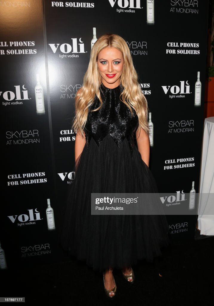 Reality TV Personality / Singer Aubrey O'Day attends the Cell Phones For Soldiers charity event sponsored by Voli Light Vodka at Sky Bar in the Mondrian Hotel on December 6, 2012 in West Hollywood, California.
