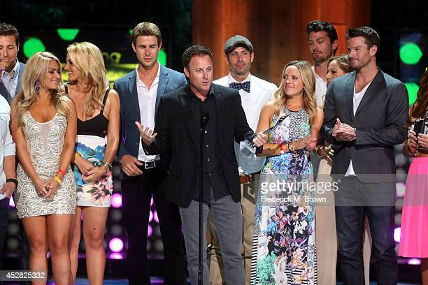 Reality TV Show Host Chris Harrison and the casts of The Bachelor and The Bachelorette receiving The Rality Royalty Award at the 2014 Young Hollywood...