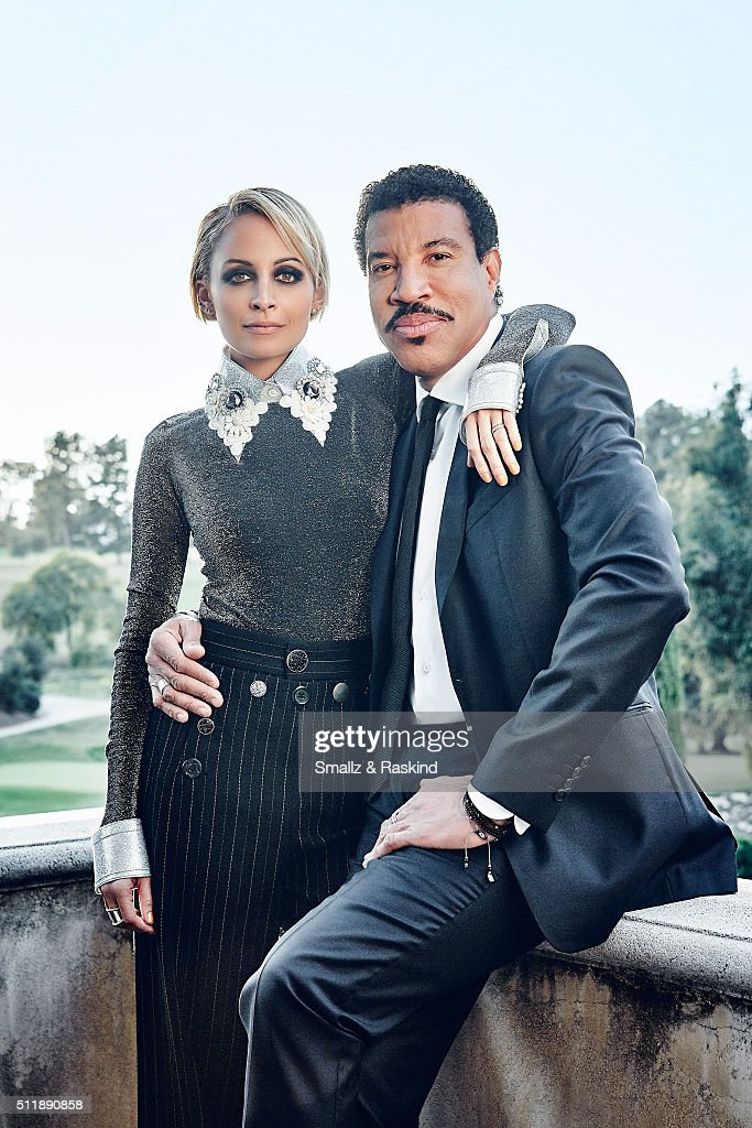 Reality TV star and fashion designer Nicole Richie is photographed with legendary musician father Lionel Richie for Legend Magazine on February 1, 2016 in Beverly Hills, California.