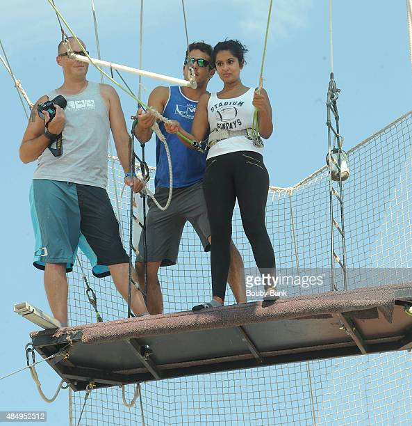 Reality TV star Davina Kullar of 'Married At First Sight' Visit The Trapeze School at Pier 40 on August 22 2015 in New York City