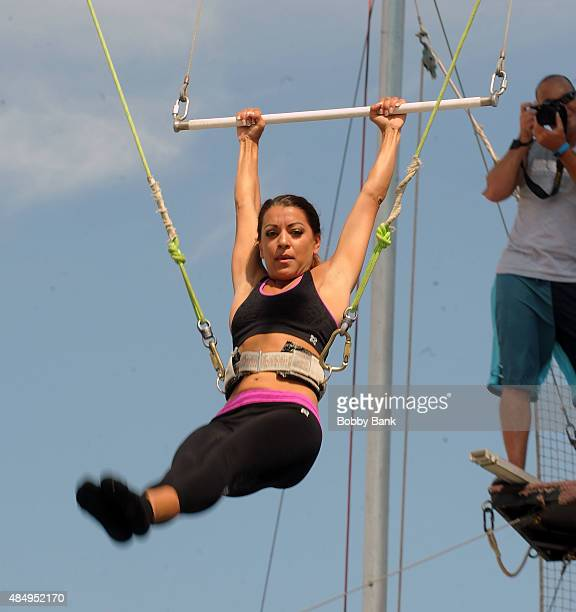 Reality TV star Jaclyn Methuen of 'Married At First Sight' Visit The Trapeze School at Pier 40 on August 22 2015 in New York City