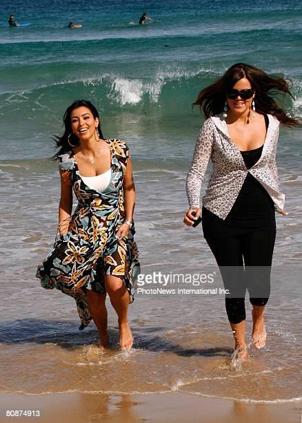 Reality TV star Kim Kardashian and her sister Khloe are seen at Bondi Beach on April 27, 2008 in Sydney, Australia.