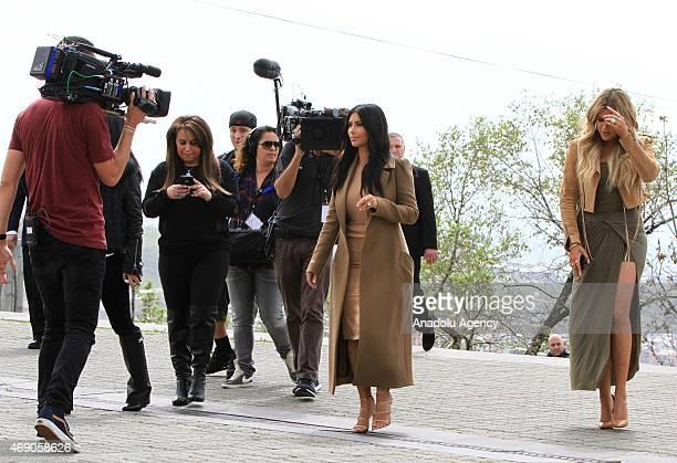 Reality TV star Kim Kardashian and her sister Khloe Kardashian take a walk through sightseeings of Yerevan during her visit in Armenia on April 09,...