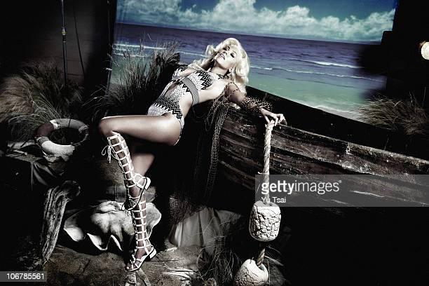 Reality TV star Kourtney Kardashian is photographed for Beach Bunny