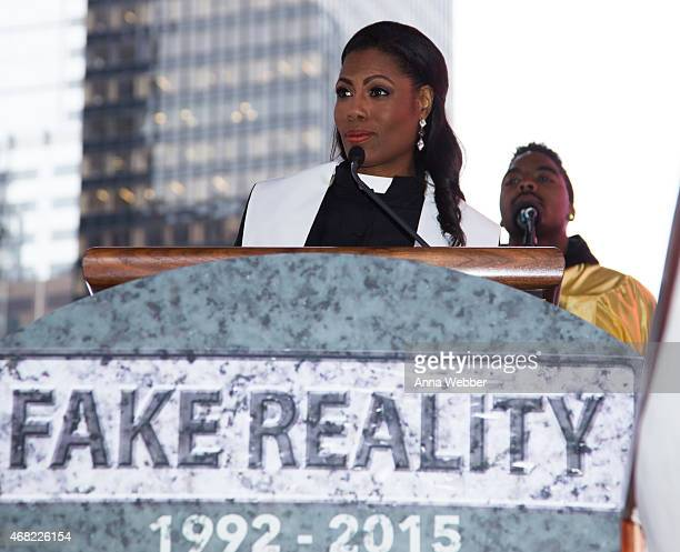 Reality TV Star Omarosa attends AOL's CONNECTED Celebrates The Death Of FAKE Reality TV at Times Square on March 31 2015 in New York City