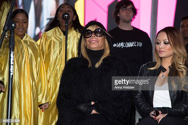 Reality TV Stars Angela 'Big Ang' Raiola and Tila Tequila attend AOL's CONNECTED Celebrates The Death Of FAKE Reality TV at Times Square on March 31...