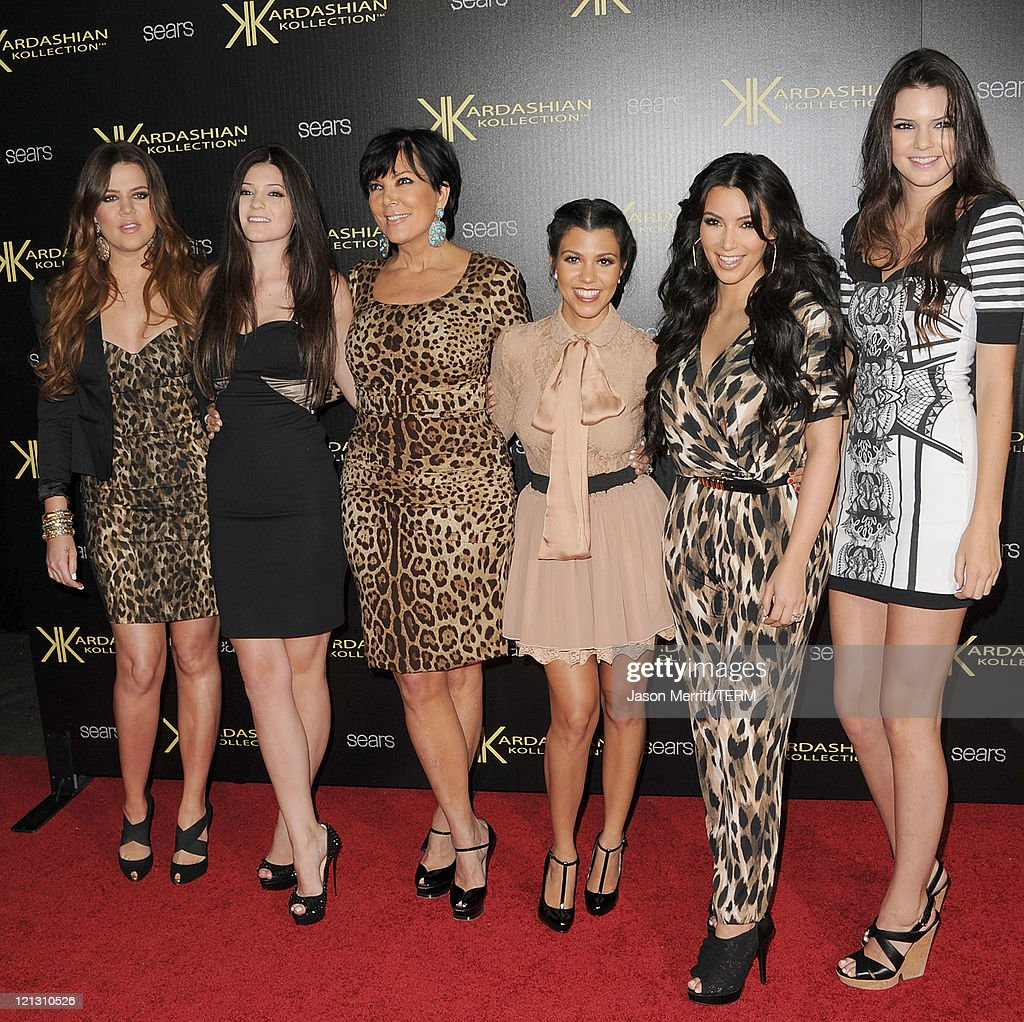 Reality TV stars (L-R) Khloe Kardasian, Kylie Jenner, Kris Kardashian, Kourtney Kardashian, Kim Kardashian, and Kendall Jenner arrive on the red carpet of the Kardashian Kollection Launch Party on August 17, 2011 in Hollywood, California.