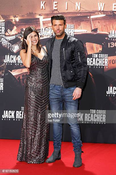 RealityTV actress Tanja Tischewitsch and german singer Jay Khan attend the 'Jack Reacher Never Go Back' Berlin Premiere at CineStar Sony Center...