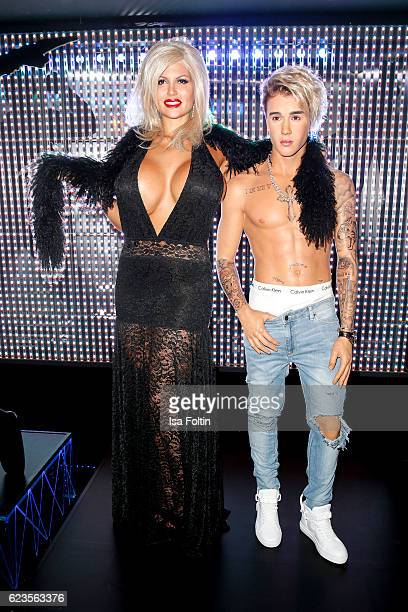 RealityTVactress Sophia Wollersheim with Justin Bieber was figure during the unveiling of the Justin Bieber wax figure at Madame Tussauds on November...